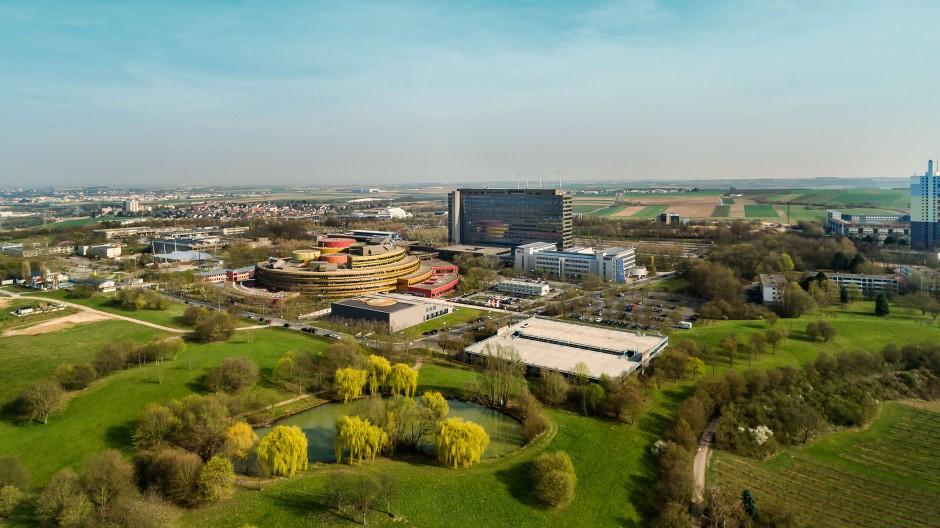 Luftbild ZDF-Sendezentrum in Mainz-Lerchenberg